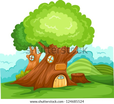 illustration landscape tree house vector - stock vector