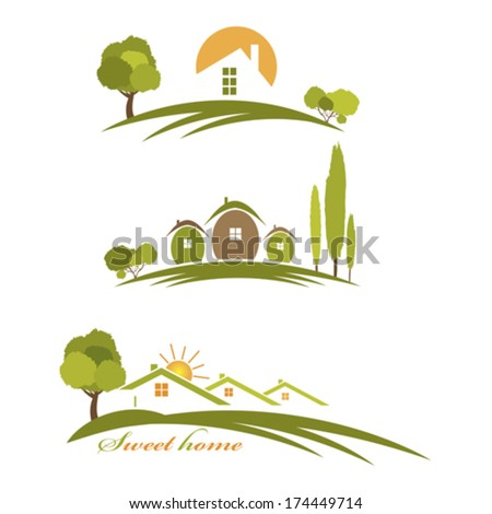 Illustration landscape with houses and trees - stock vector