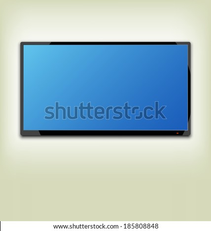 Illustration LCD or LED tv screen hanging on the wall - vector - stock vector