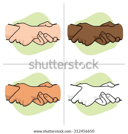 Illustration leaning hands holding a wrist of another ethnicity. Ideal for catalogs, informative and institutional material - stock vector