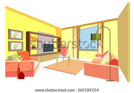illustration living room - stock vector