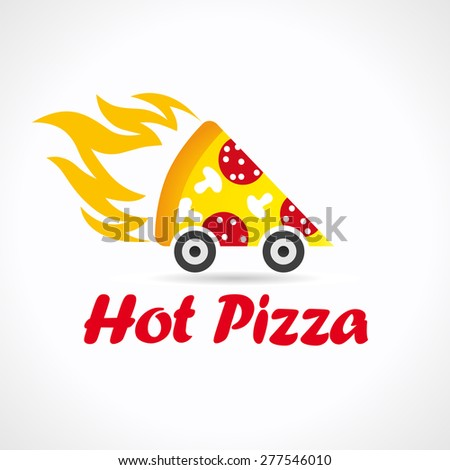 Illustration logotype for restaurant pizzeria in the form of a piece of pizza with fire on wheels. Pizza delivery logo - stock vector