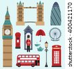 Illustration London,United Kingdom Flat Icons. Collection of England Colorful Symbols. Group of Travel Icons - Vector - stock vector