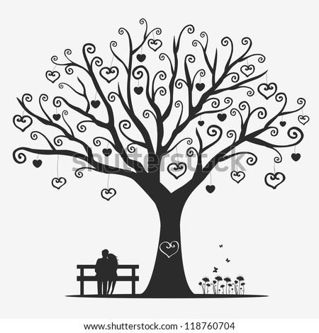 illustration magic tree with a pair of lovers - stock vector