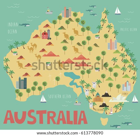 illustration map of australia with landmarks vector illustration