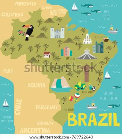 Illustration Map Brazil Nature Animals Landmarks Stock Vector 2018