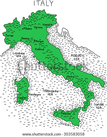illustration map of Italy - stock vector