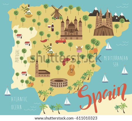 illustration map of spain with animals and landmarks vector illustration