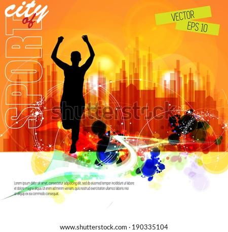 illustration marathon runner, vector - stock vector