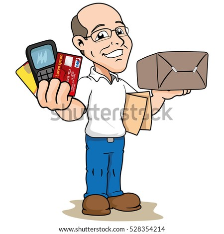 Illustration mascot bald person showing ways to pay for a product. Ideal for institutional materials and training