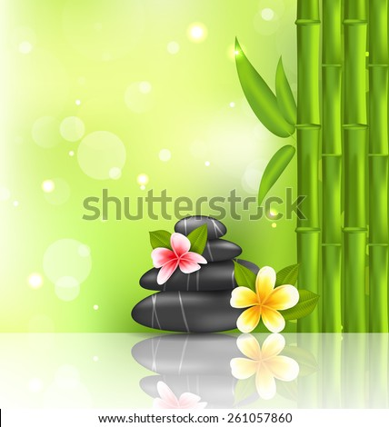 Illustration meditative oriental background with frangipani, bamboo and heap stones, spa therapy - vector - stock vector