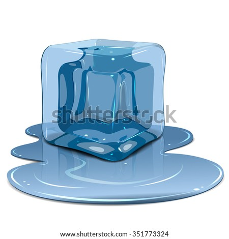 Illustration melting ice cube on a white background - stock vector