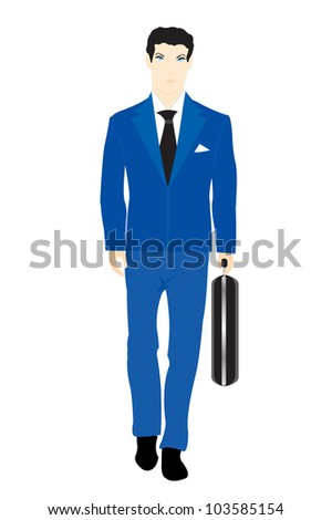 Illustration men in turn blue suit with valise on white background
