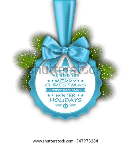 Illustration Merry Christmas Elegant Card with Bow Ribbon and Pine Twigs - Vector - stock vector