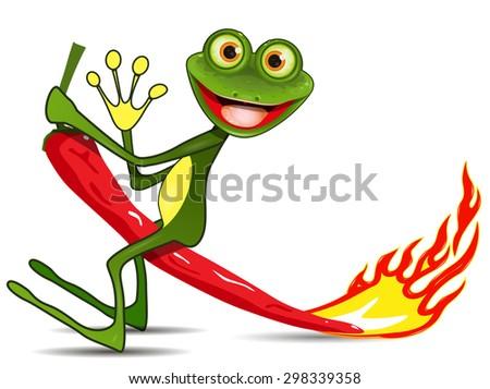 Illustration merry green Frog on hot pepper - stock vector