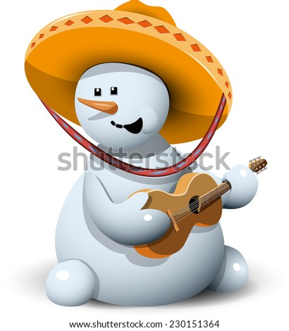 illustration merry snowman with his guitar in a sombrero