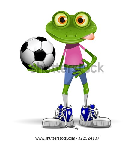 Illustration merry soccer player frog with ball