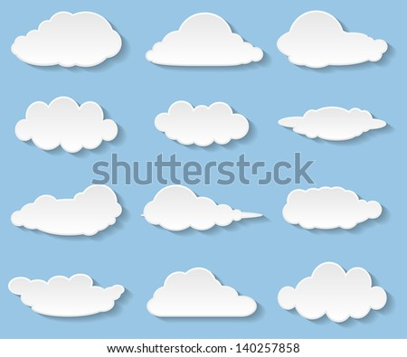 Illustration messages in the form of clouds. Icon set. Vector. - stock vector