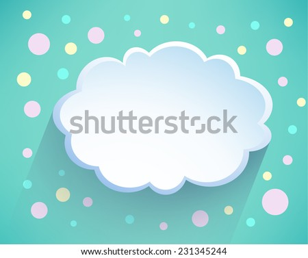 Illustration messages in the form of clouds. Vector. Abstract paper cloud background