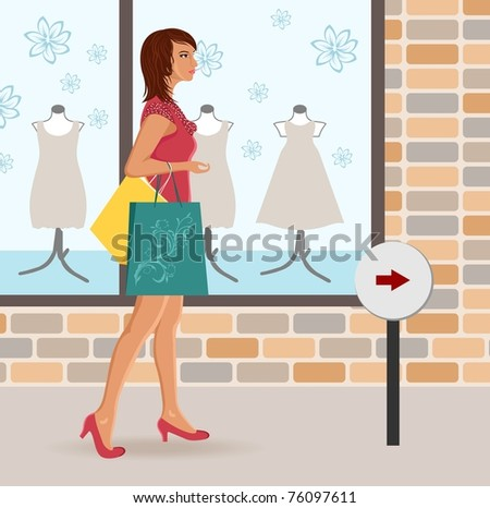 Illustration modern girl loaded with shopping bags - vector - stock vector
