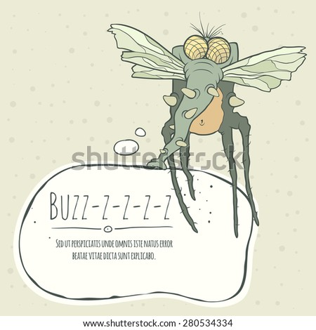 Illustration monster fly with long legs, wings and proboscis. Hand drawing cartoon. Greeting card with speech bubble. The concept of the character on a uniform background. - stock vector