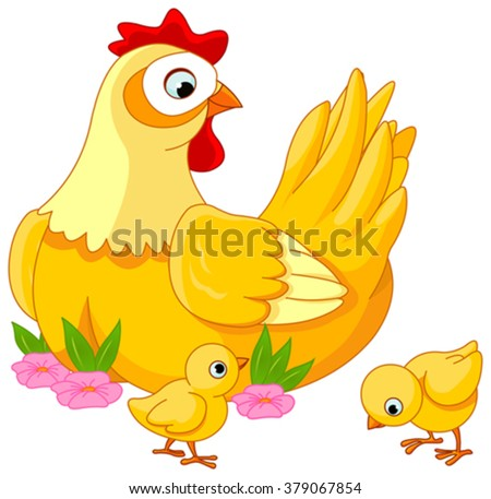Illustration mother hen with its baby chicks - stock vector