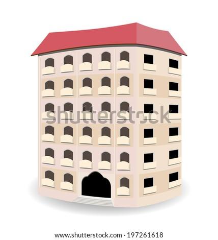 Illustration multistoried residential house isolated on white background - vector - stock vector