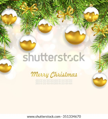 Illustration Natural Christmas Background with Fir Twigs and Glass Balls, Holiday Wallpaper - Vector - stock vector