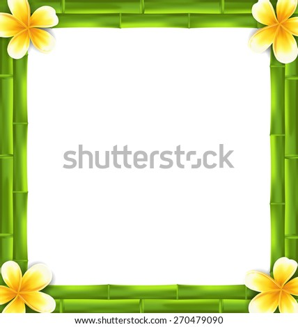 illustration natural frame made bamboo and frangipani flowers copy space for your text vector - Natural Frame