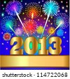 illustration new year background with salute and gold(en) numeral - stock photo
