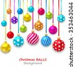 Illustration New Year Bckground with Set Colorful Christmas Ornamental Balls - Vector - stock vector