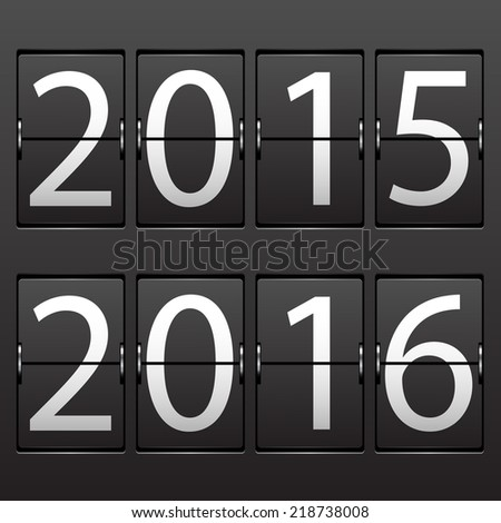 Illustration New Year date. Set of numbers on a mechanical timetable. Vector.