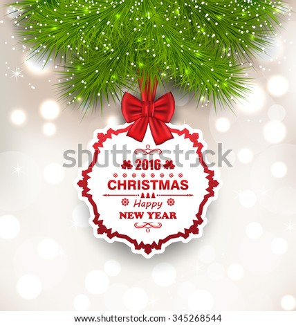 Illustration New Year Glowing Background, Christmas Greeting Card - Vector