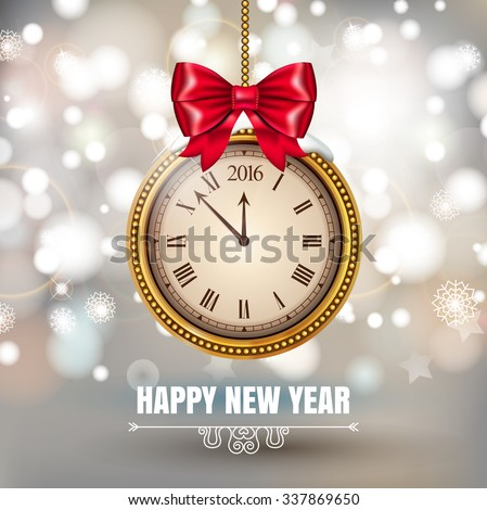 Illustration New Year Midnight 2016 Glowing Background with christmas ball Clock. Vector illustration - stock vector