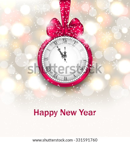 Illustration New Year Midnight Glowing Background with Clock - Vector - stock vector