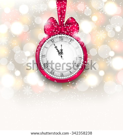 Illustration New Year Midnight Sparkling Background with Clock and Bow - Vector - stock vector