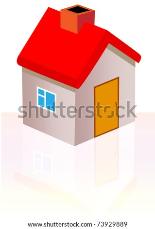 illustration nice house with reflection is insulated - stock vector