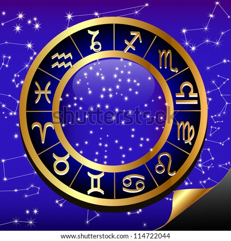 illustration night sky and gold(en) circle of the constellation sign zodiac - stock vector