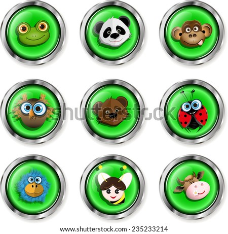 Illustration, nine buttons with cartoon animal icons - stock vector