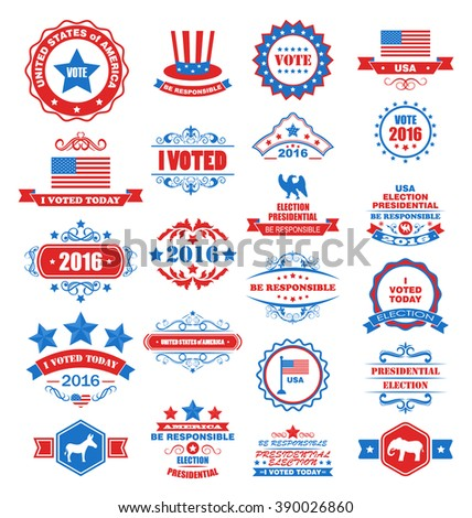 Illustration Objects and Symbols for Vote of USA. Set Typographic Elements, Modern Labels, Frames, Ornaments - Vector - stock vector