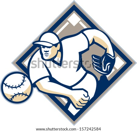 Illustration of a american baseball player pitcher outfilelder throwing ball set inside diamond isolated on white background. - stock vector
