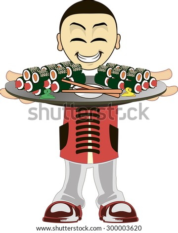 Illustration of a Asian waiter on a white background - stock vector