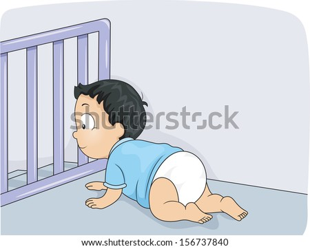 Illustration of a Baby Boy Being Prevented by a Baby Gate from Falling Down the Stairs - stock vector