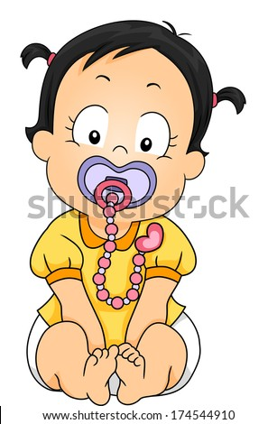 Illustration of a Baby Girl Sucking on a Pacifier Attached to a Clip