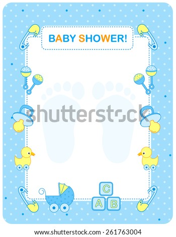 Illustration of a baby shower invitation card / border / frame for a boy - stock vector