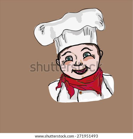 Illustration of a baker chef cook bust with hat