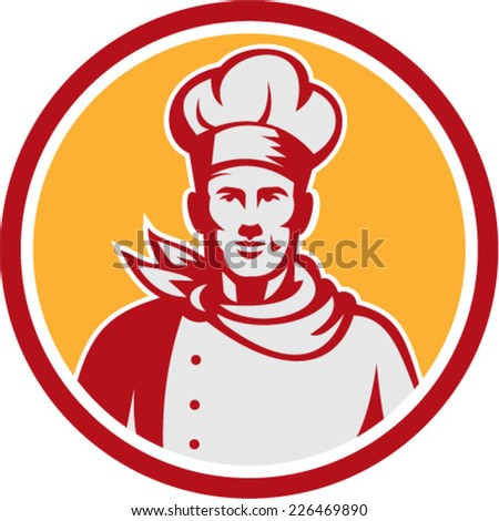 Illustration of a baker chef cook bust with hat facing front set inside circle on isolated background done in retro style.