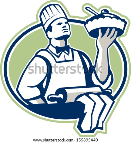 Illustration of a baker chef cook holding serving pie with roller in foreground set inside oval done in retro style.