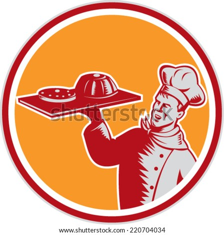 Illustration of a baker chef cook serving holding tray with food cake serving set inside circle on isolated background done in retro woodcut style.  - stock vector