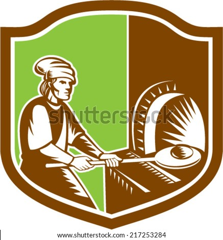Illustration of a baker pizza maker holding peel pan with bread dough putting in open fire woodfire oven set inside shield crest done in retro style.  - stock vector